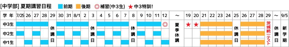 弘道学館夏期講習中学部スケジュール