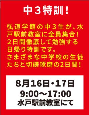 弘道学館夏期講習中3特訓!